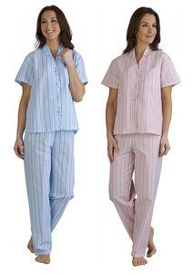 dd10bd28b8 Ladies Slenderella Seersucker Striped Pyjamas UK 10-30 (Blue or Pink) -  Mill Outlets
