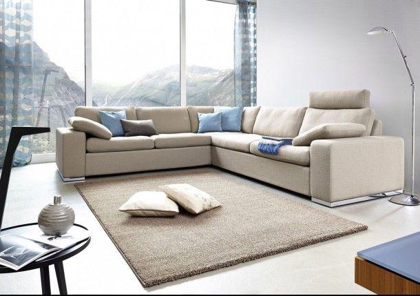 Kurzflor Teppich Samoa Astra Webteppich Uni braun Teppiche - teppich wohnzimmer grau