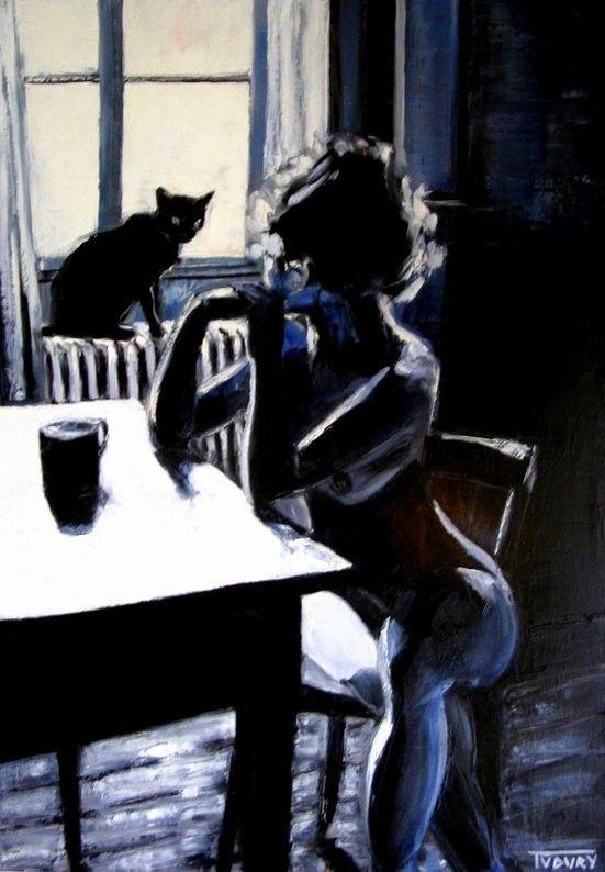 Jean Marc Tudury Le Chat Noir 2007 Paintings Oil On Canvas Art Cat Art Le Chat Noir