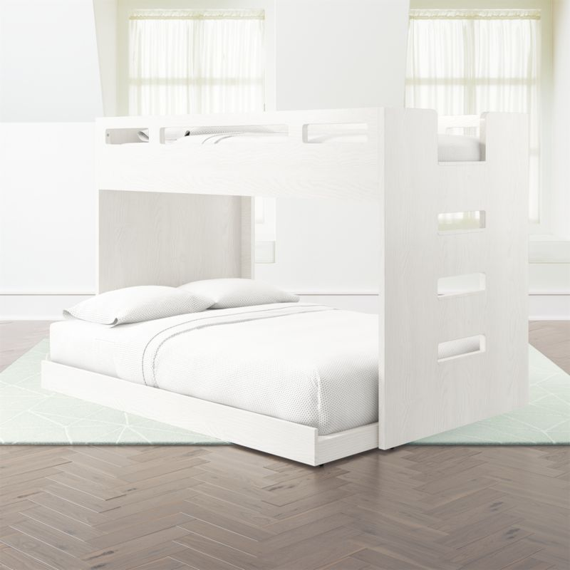 Abridged White Glaze Twin Over Full Bunk Bed With Left Ladder