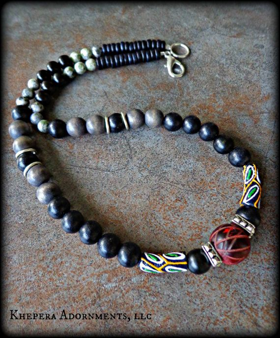 Mens Tribal Jewelry Mens Wood Beaded Necklace Mens Smokey Grey