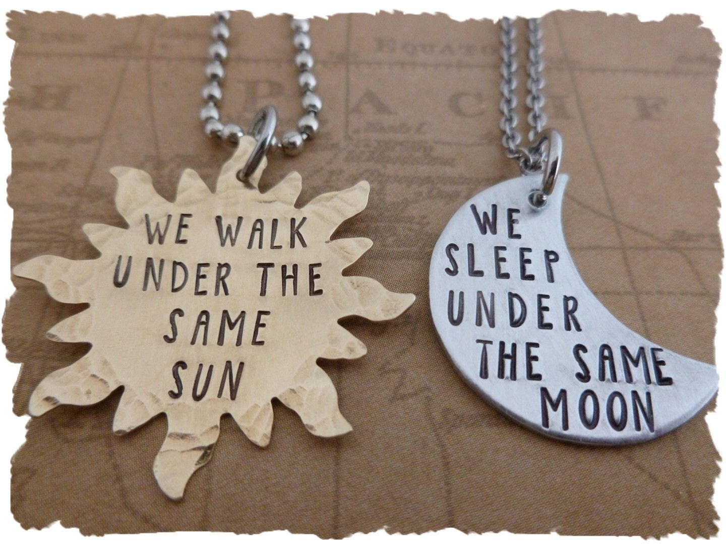 Long Distance Necklace Sun And Moon Set Of 2