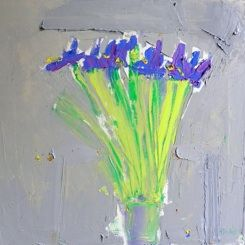 Irises on Grey, oil on canvas, 40cm x 40cm, by Alison Lindsay McWhirter