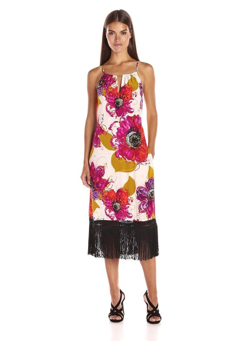Womenus vivianna bela roseta silk crepe de chine fringe dress in