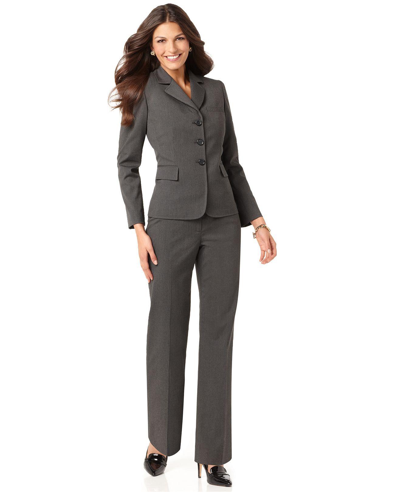 ee029f48fb Tahari by ASL Petite Suit, Long Sleeve Pinstriped Jacket & Stright Leg Pants