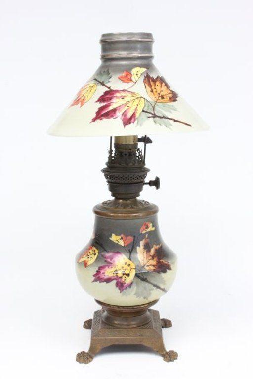 Lot: Converted kerosene lamp, Lot Number: 0105, Starting Bid: $25, Auctioneer: Time & Again Auction Gallery, Auction: December Pre-Holiday Antique & Fine Art Sale, Date: December 3rd, 2013 EST