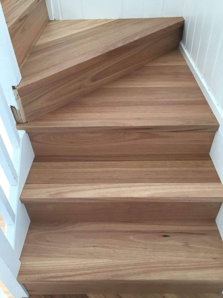 Hand Made Timber Stair Nosing S From Single Strip Floating Floor Boards To Match The New Flooring