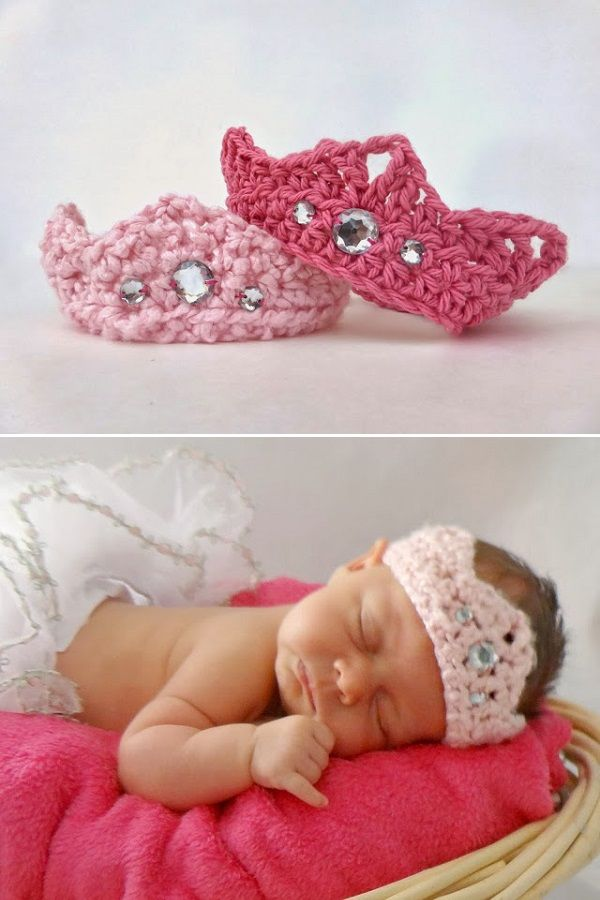 Cutest crochet crown for newborn princesses :) Follow the links for ...