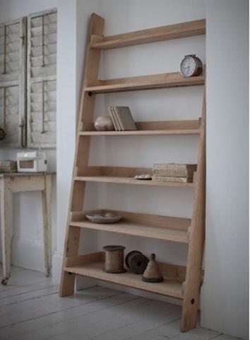 Light Raw Oak Wide Shelf Ladder Bookcase Farmhouse Oak Shelves