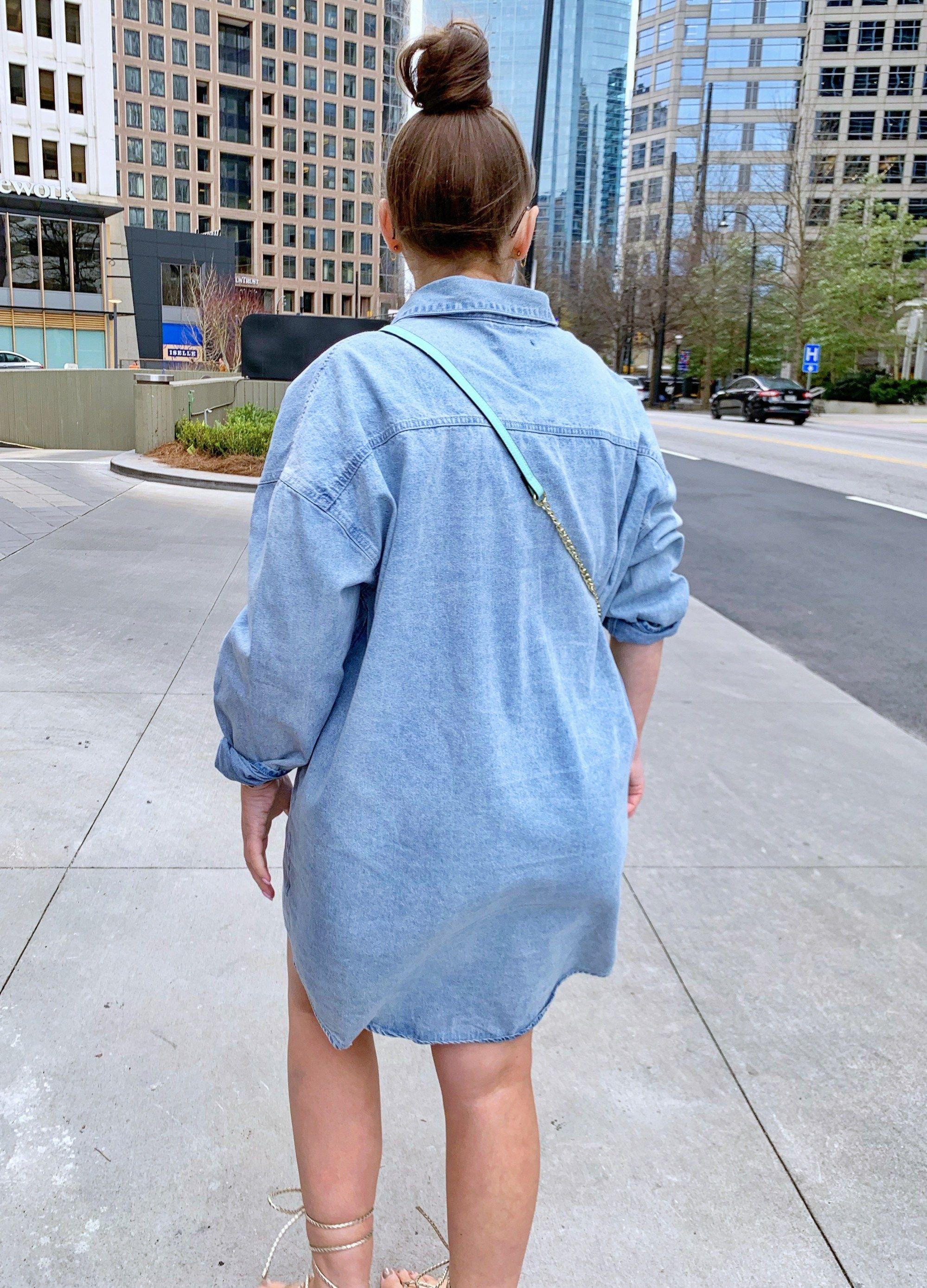 SPRING OUTFIT: OVERSIZED DENIM SHIRT DRESS @julia.marie.b   Casual ...