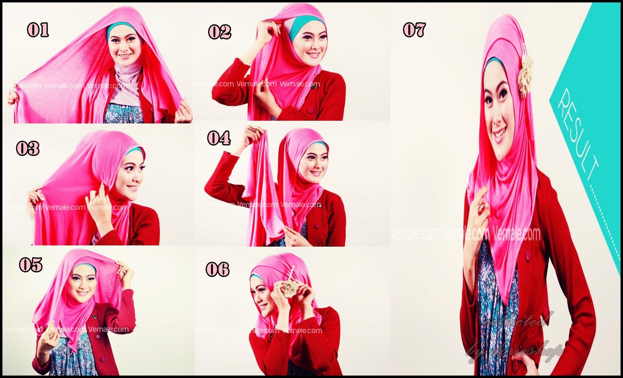 tutorial jilbab cantik dengan pashmina kaos rayon - dorie shop