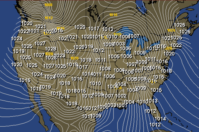 Us Barometric Pressure Map Real time Barometric Pressure Map for the United States | Map, Us