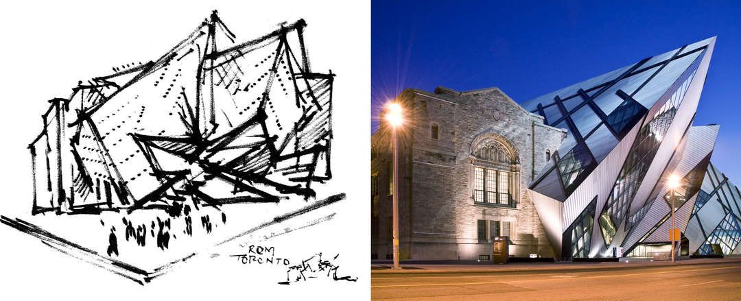 How architecture is born 7 poetic sketches by daniel for Daniel libeskind architectural style