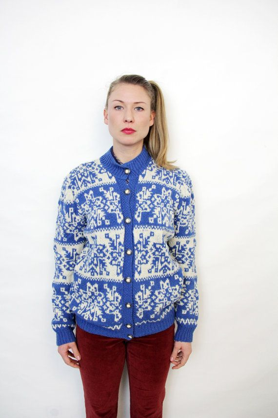 Vintage Blue and White Nordic Pattern Hand Knit Cardigan Sweater ...
