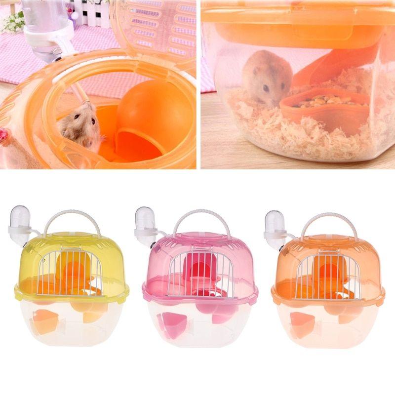 Portable Hamster Travel Carrier Practical Plastic Hamster Cage