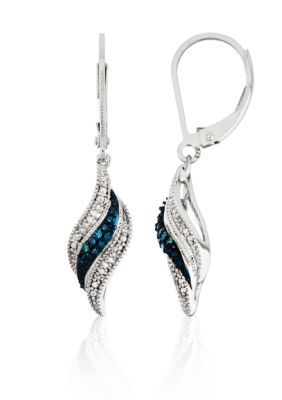 Belk  Co.  White and Blue Diamonds Swirl Lever Backs Earrings in Sterling Silver