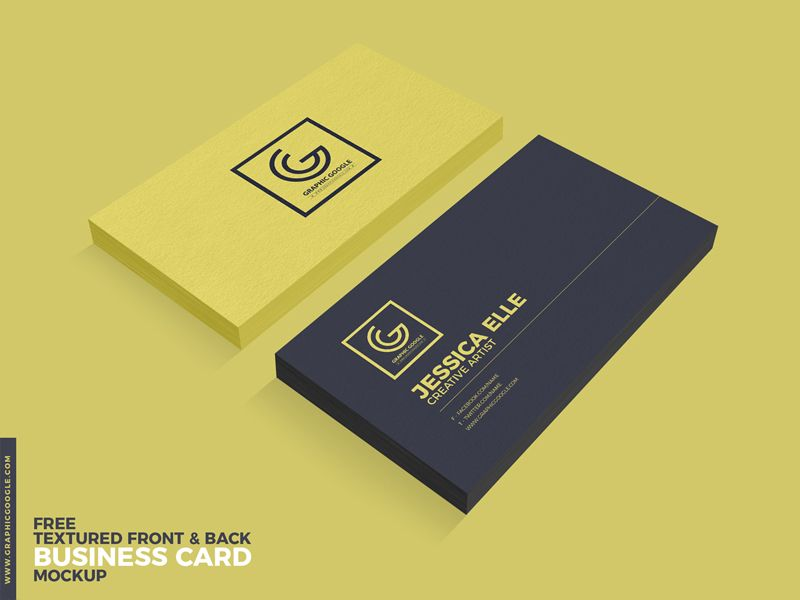 Free Textured Front  Back Business Card Psd Mockup  Mockup