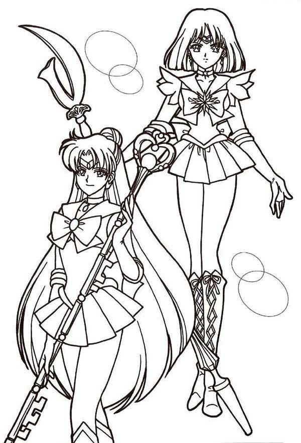 sailor mercury and sailor mars in sailor moon coloring page color luna