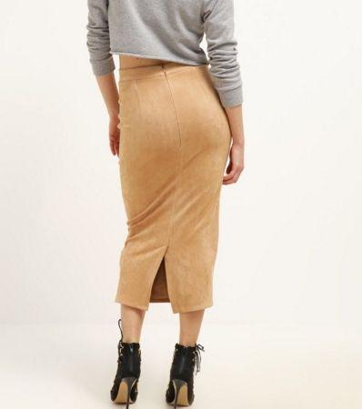 W Mega Missguided Petite Długa spódnica ołówkowa obcisła camel | Spódnice XV22