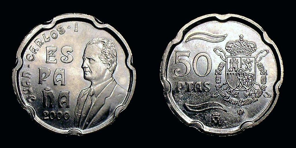 España 50 Pesetas 2000 S C Rey D Juan Carlos I Spain Escudo Real Coleccionar Monedas Historia De La Moneda Moneda Española