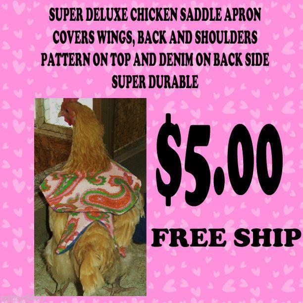 1 DELUXE Chicken Saddle Apron Hen WING BACK SHOULDER BACKYARD POULTRY