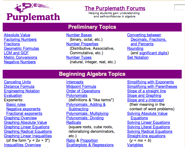 purplemath is a website that offers lessons on pretty much purplemath is a website that offers lessons on pretty much any math topic under the