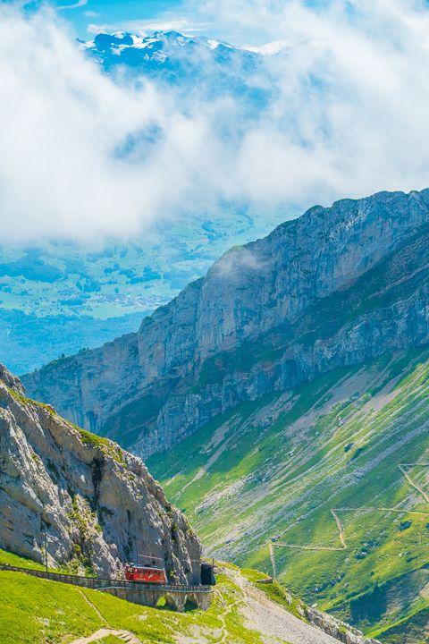 Wallpaper Switzerland Pilatus top view city mountains cable car