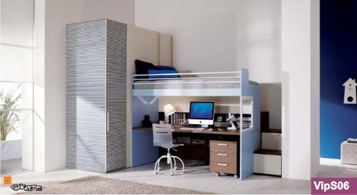 camerette a soppalco, scrivania sotto - Cerca con Google  kids room  P...