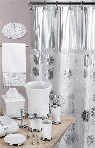 Phoenix White Silver Bath Accessory Set Bathroom Accessories Sets Silver Bathroom Bathroom Decor