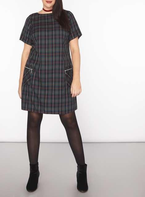DP Curve Green Check Zip Shift Dress - Dorothy Perkins