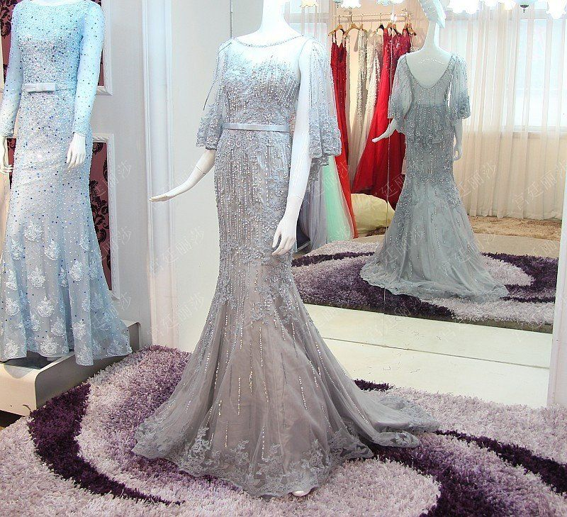 D264  Unique Luxury Mermaid Wedding Bridla Gowns,Heavy Handmade Beaded Long Evening Dresses, prom Gowns