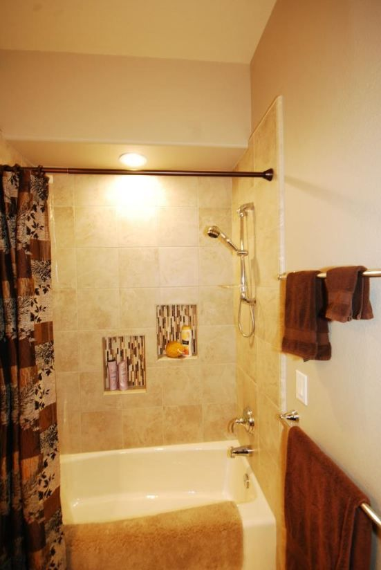 beautiful tile tub surround with marble mosaic niches | RCB Bath ...