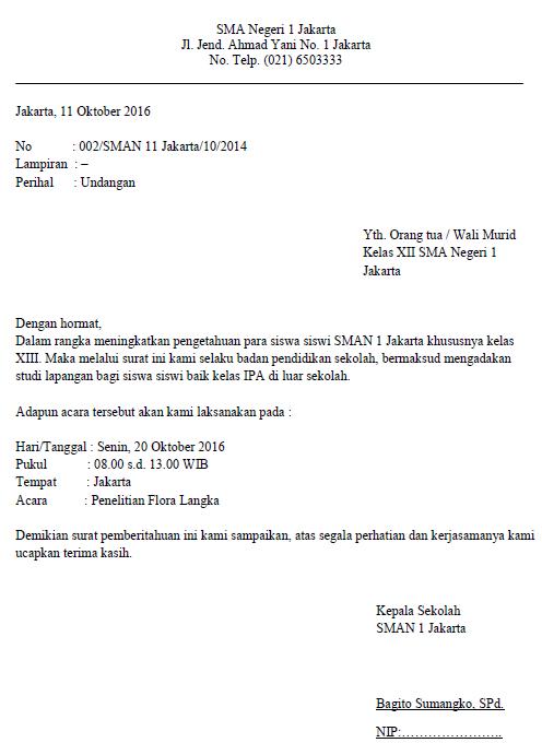 Contoh Surat Resmi Di Sekolah