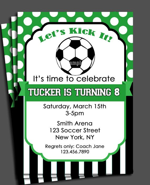Soccer Invitation Printable You Pick Colors Birthday Baby