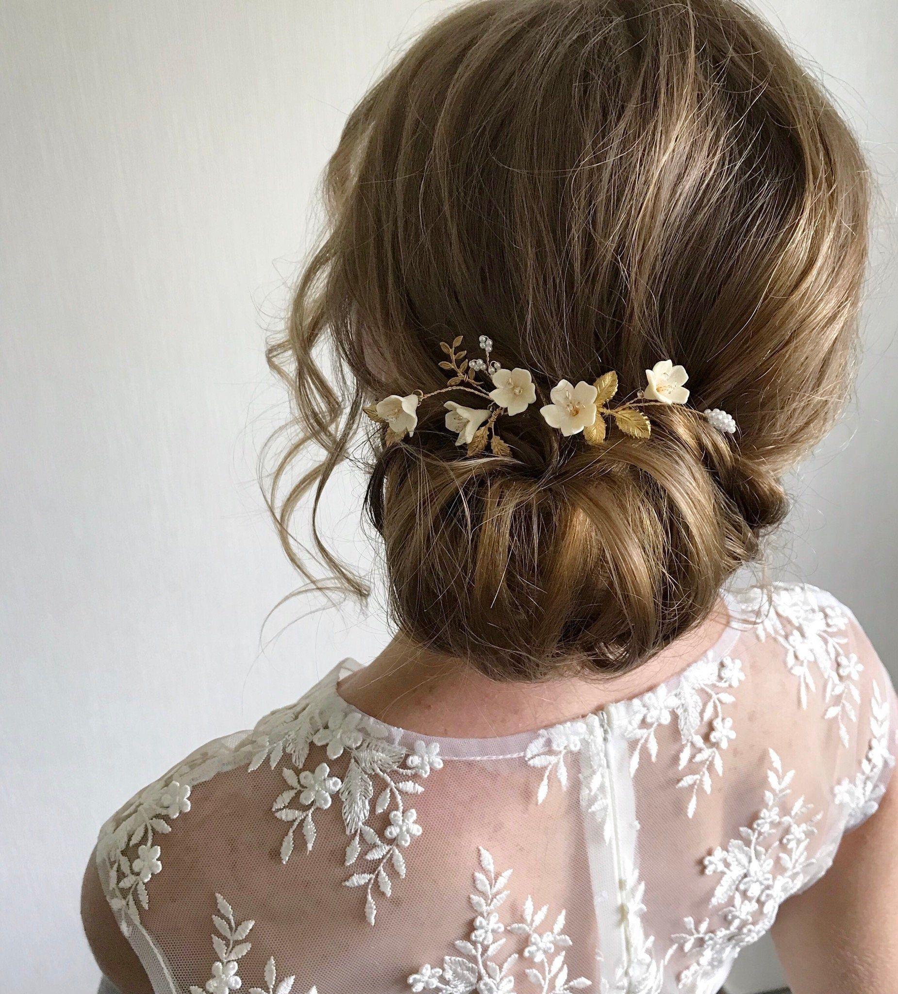 Bridal Floral Hair Pins Gold Silver Wedding Hair Etsy In 2020 Flower Girl Hairstyles Wedding Hair Pieces Bridesmaid Hair Clips