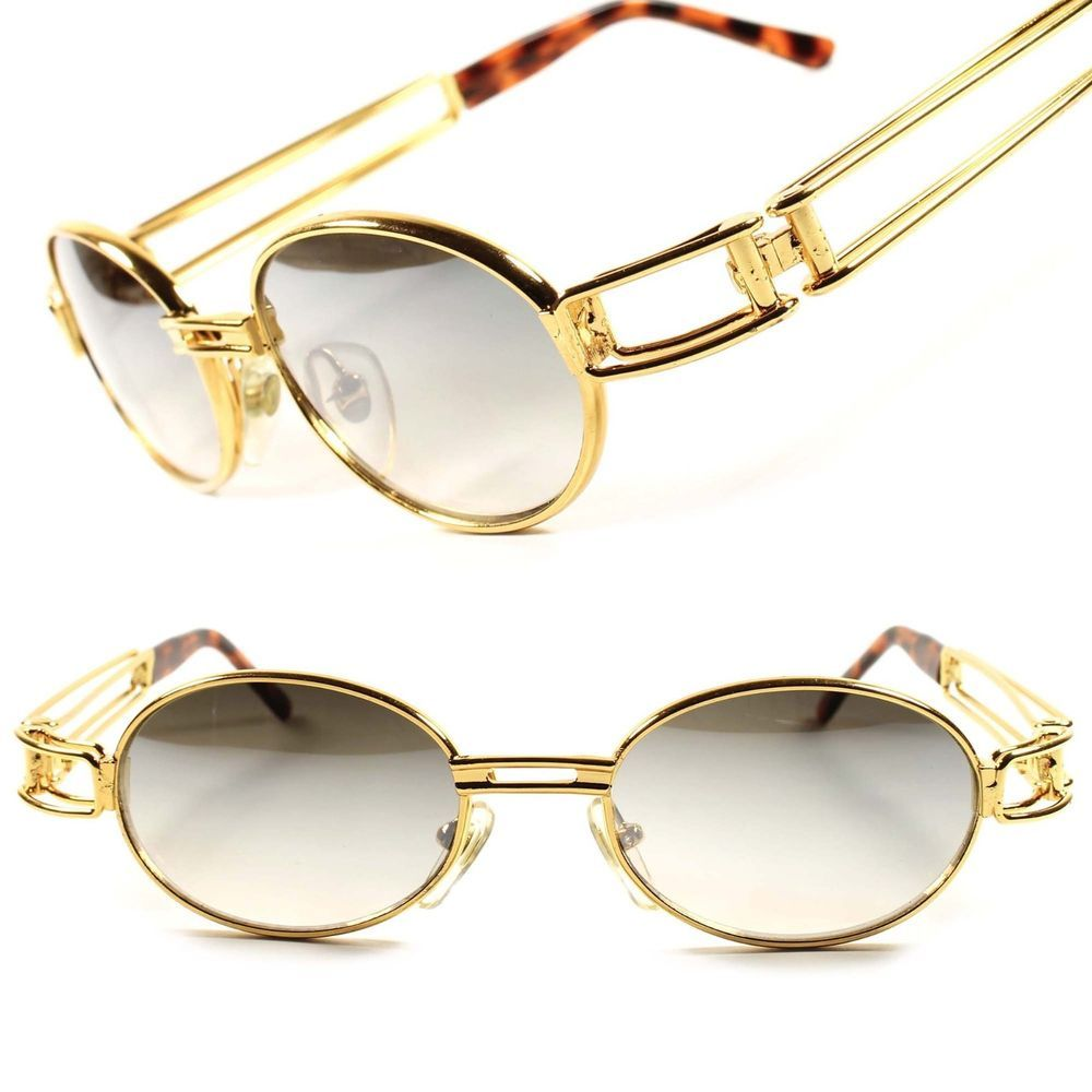 details about gold classic old cool vintage retro mens womens oval round sunglasses frame d54a