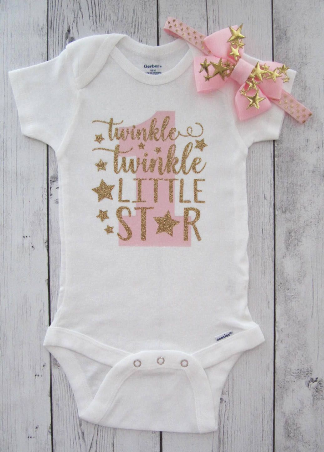 90f137c2e5cf Twinkle Twinkle Little Star First Birthday Onesie in pink and gold ...