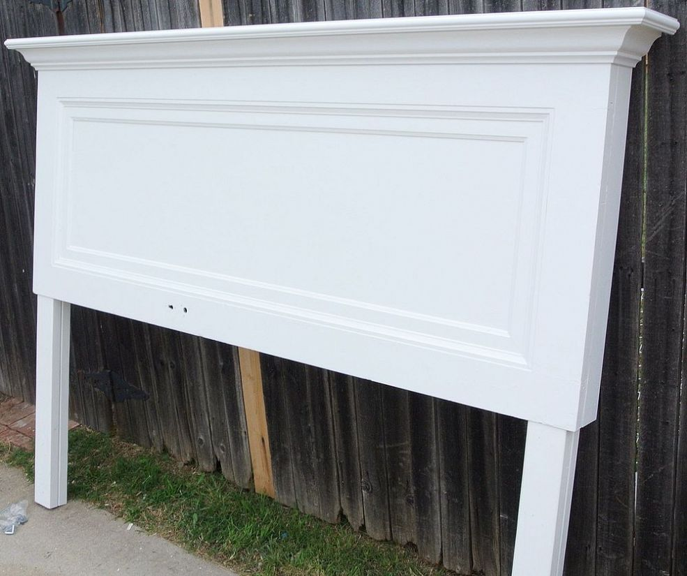 Classic One Panel Old Door Headboard For A King Size Bed Door