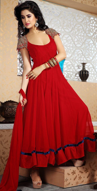 Anarkali Umbrella Frocks: #Red #Churidar Umbrella #Suit From Chuirdar Fashion