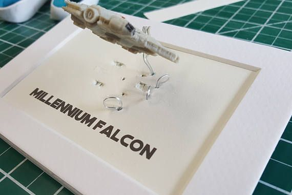 Birthday Gift, Millennium Falcon Gift, Desk Frame Gift, Star Wars ...