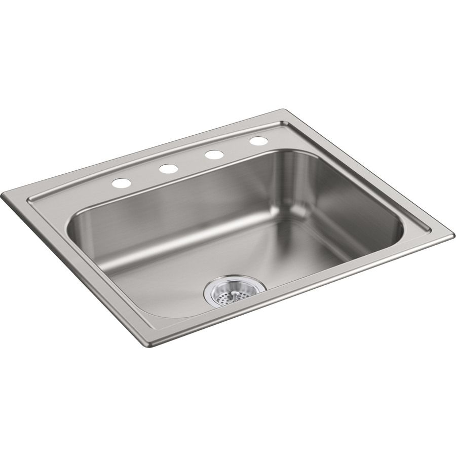 Kohler Undermount 25 In X 22 In Stainless Steel Single Bowl 4 Hole Kitchen Sink Lowes Com Single Bowl Kitchen Sink Sink Kitchen Sink 25 x 22 stainless steel sink