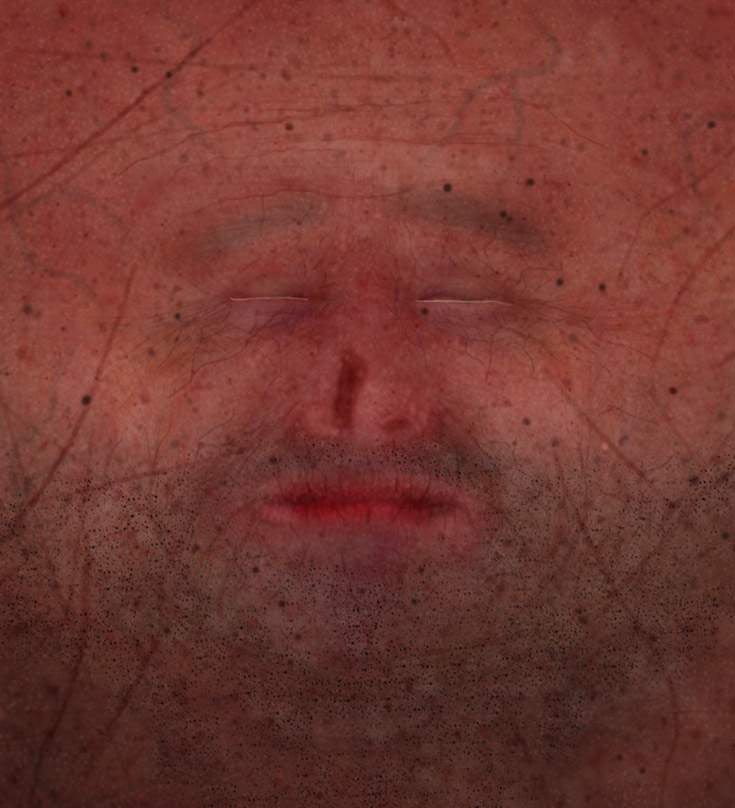 flattened image of face for a jar