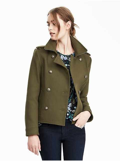 Women's Cropped Military Peacoat | Banana Republic | style ...