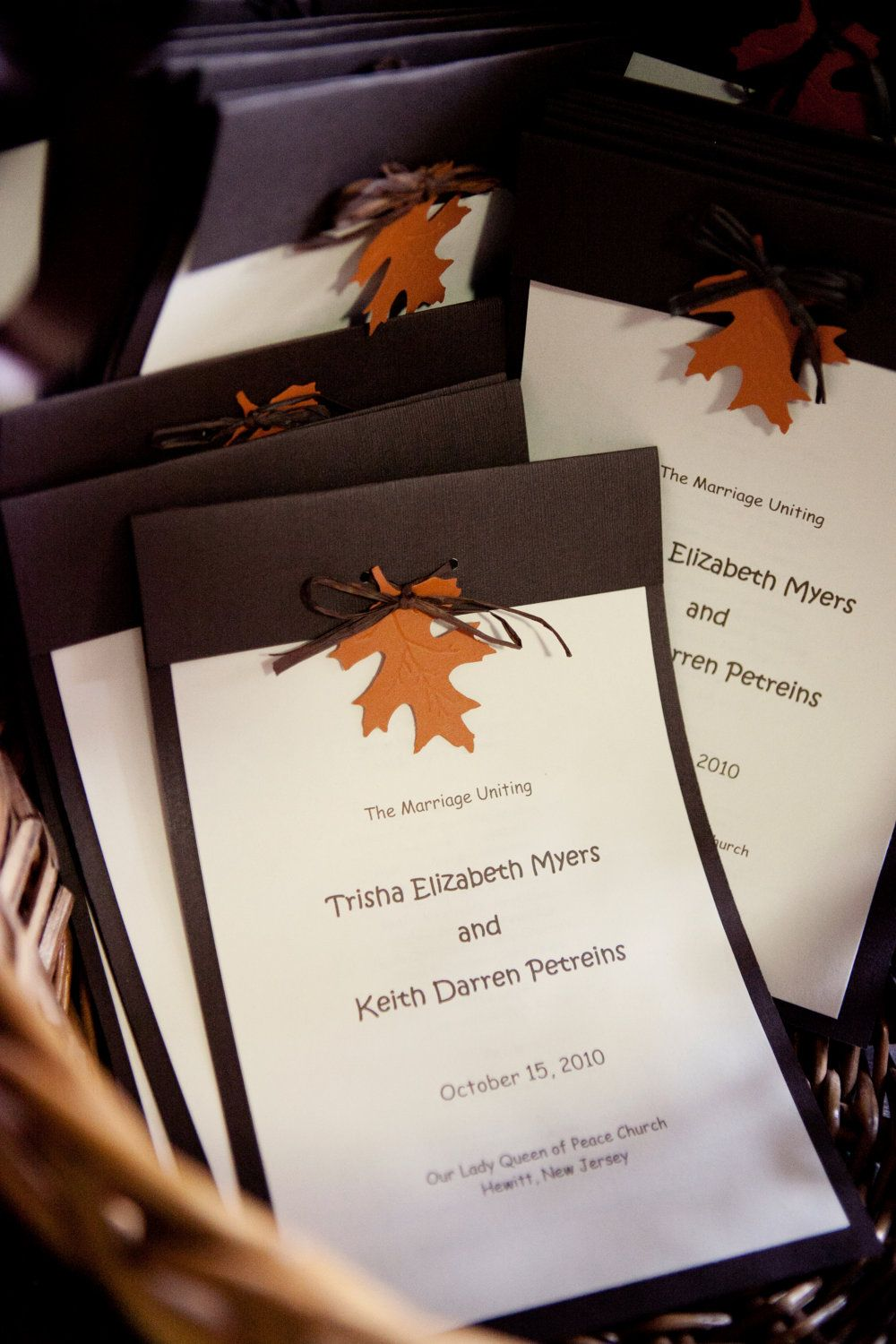 The Perfect Program For Your Fall Wedding Is Approximately 6 X Ivory Paper Backed With Brown Card Stock