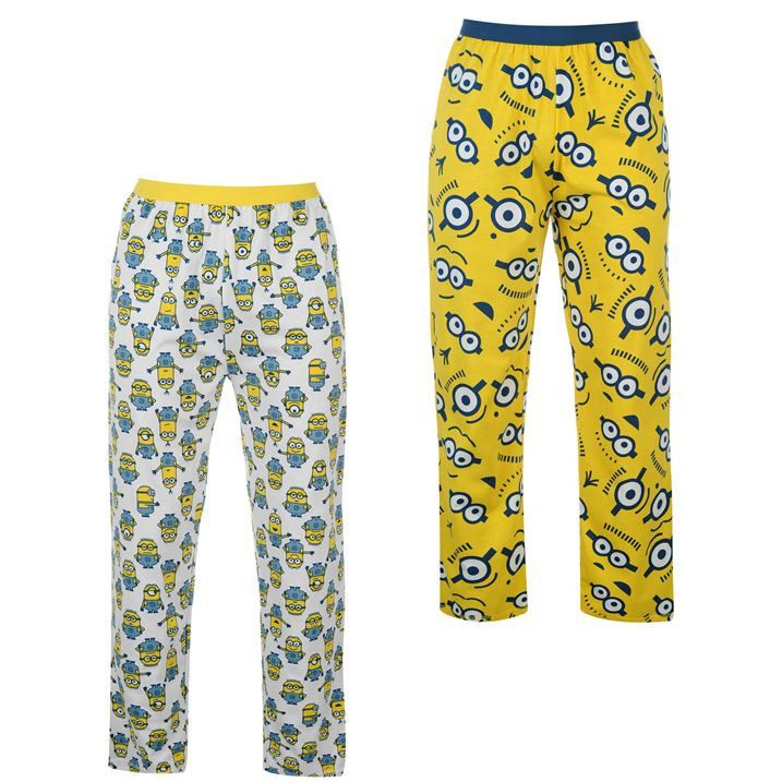 93964be8f36947 Mens Despicable Me Minions Pyjama Bottoms 2 Pack