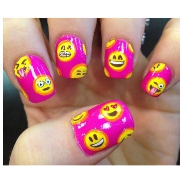 Emoji Nail Art And Some New Kit From Moyou: 25 Emoji Nail Art Designs Liked On Polyvore Featuring
