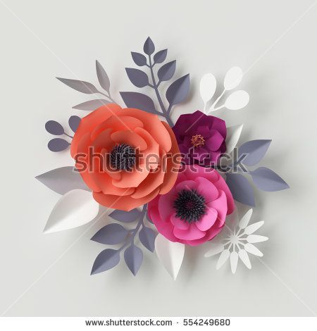 3d render, digital illustration, red pink paper flowers, floral - wedding card template
