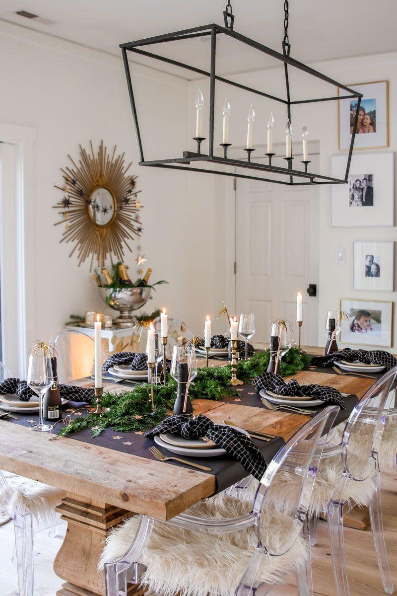 Festive Bar Cart for New Year's Eve Dinner table diy