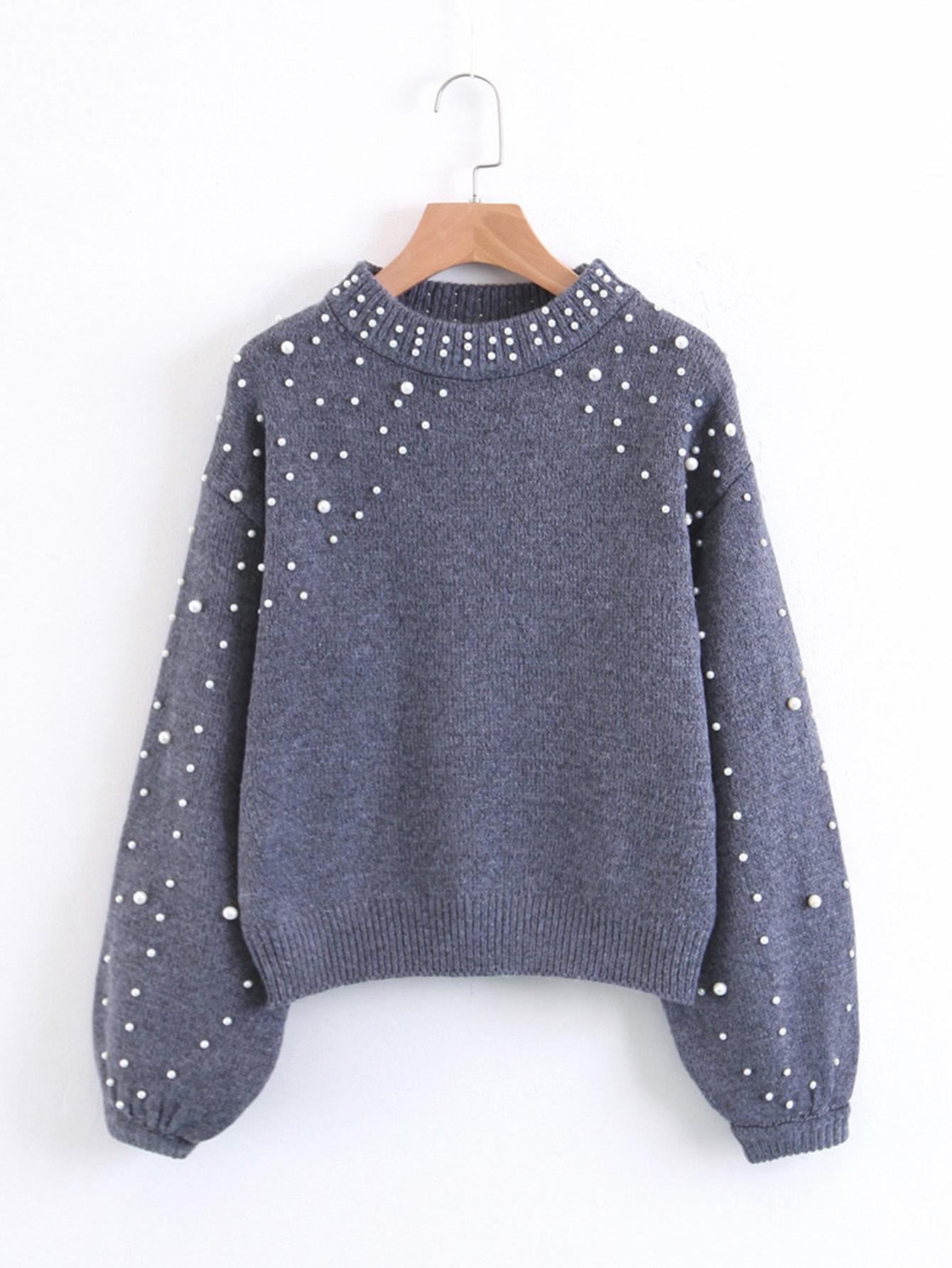 Shop Faux Pearl Embellished Lantern Sleeve Sweater online. SheIn offers  Faux Pearl Embellished Lantern Sleeve Sweater   more to fit your  fashionable needs. 41d725dd1