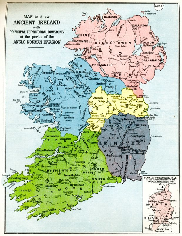 Map of Ancient Ireland with Principal Territorial Divisions at the